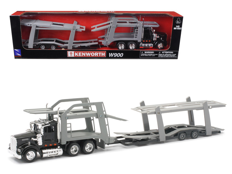 Kenworth W900 Black with twin Auto Carrier 1/43 New Ray 15213F