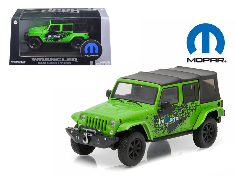 2014 Jeep Wrangler Unlimited Green Mopar Edition The Immortal Tribute With Display Showcase 1/43 Diecast Model Car Greenlight 86077