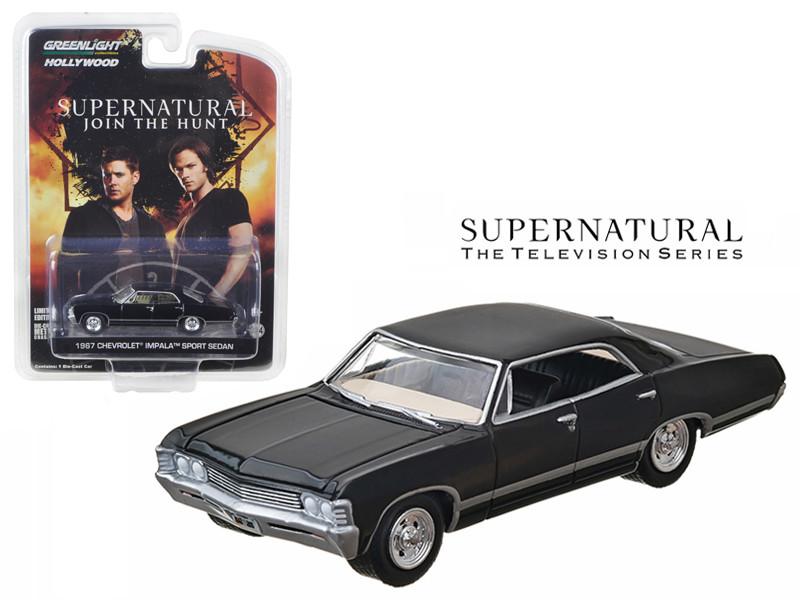 1967 Chevrolet Impala Sedan 4 Doors Black Supernatural 2005 TV Series 1/64 Diecast Model Car Greenlight 44692