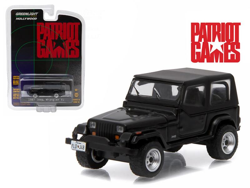 "1987 Jeep Wrangler YJ Black ""Patriot Games"" Movie (1992) 1/64 Diecast Model Car Greenlight 44730B"