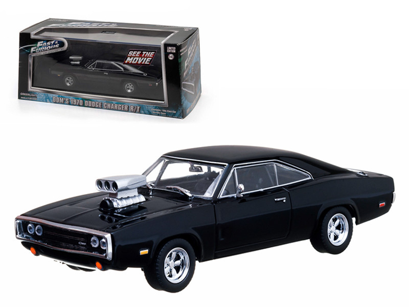 """Dom's 1970 Dodge Charger Black """"The Fast and The Furious"""" Movie (2001) 1/43 Diecast Car Model Greenlight GL86201"""