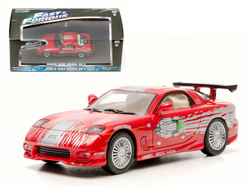 "Dom's 1993 Mazda RX-7 Red ""The Fast and The Furious"" Movie (2001) 1/43 Diecast Car Model Greenlight GL86204"