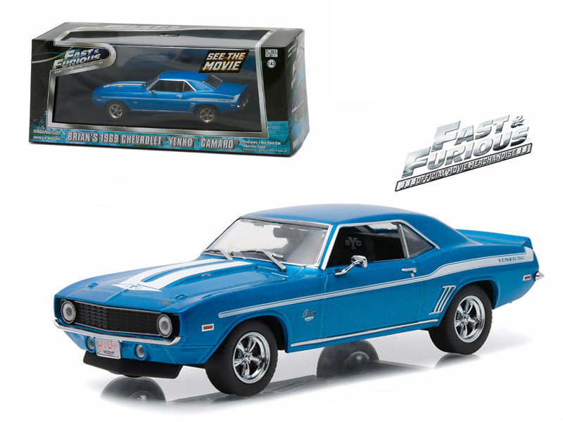 "Brian's 1969 Chevrolet Yenko Camaro ""The Fast and The Furious-2 Fast 2 Furious"" Movie (2003) 1/43 Diecast Model Car Greenlight 86206"