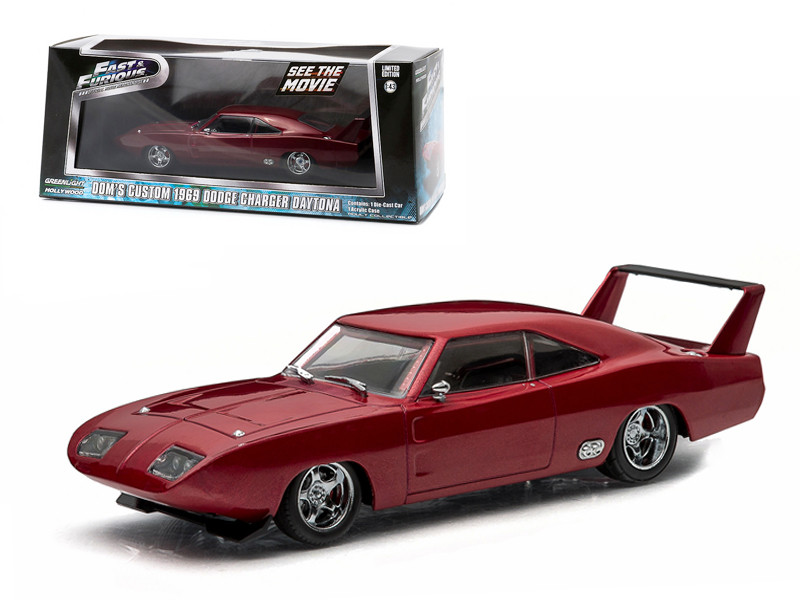"""Dom's 1969 Dodge Charger Daytona Maroon """"Fast and Furious 6"""" Movie (2013) 1/43 Diecast Model Car Greenlight 86221"""