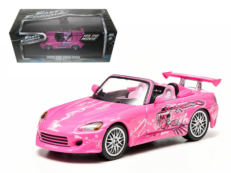 "Suki's 2001 Honda S2000 Pink ""2 Fast and 2 Furious"" Movie (2003) 1/43 Diecast Model Car Greenlight 86225"