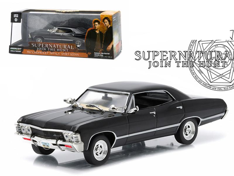 """1967 Chevrolet Impala Sports Sedan """"Supernatural"""" (TV Series 2005) 1/43 Diecast Model Car Greenlight 86441"""
