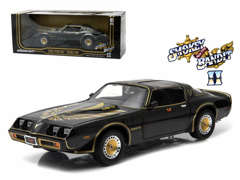 1980 Pontiac Trans Am Turbo 4.9L Black Smokey and the Bandit 2 1980 Movie 1/18 Diecast Model Car Greenlight 12829 12944