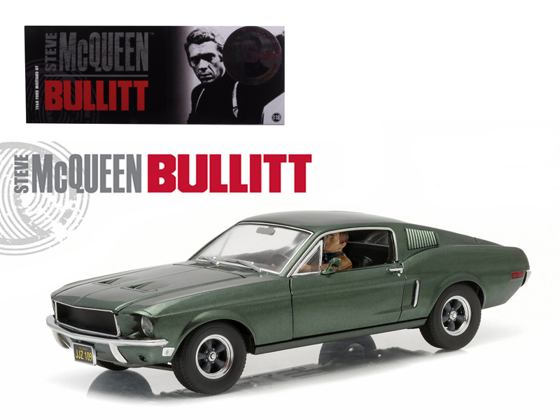 "1968 Ford Mustang GT Fastback ""Bullitt"" Highland Green with Steve Mcqueen Driving Figure 1/18 Diecast Model Car Greenlight 12938"