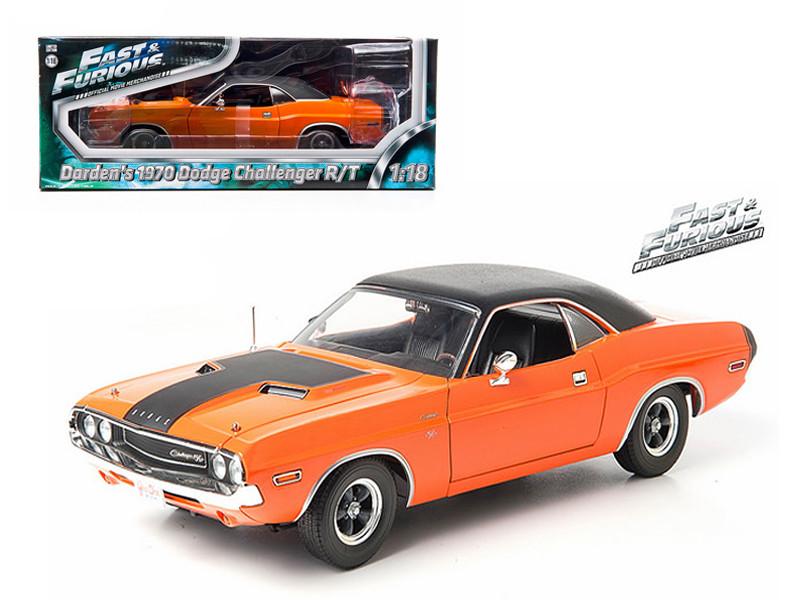 "1970 Darden's Dodge Challenger R/T Orange ""Fast & Furious"" Movie 1/18 Diecast Model Car Greenlight GL12947"