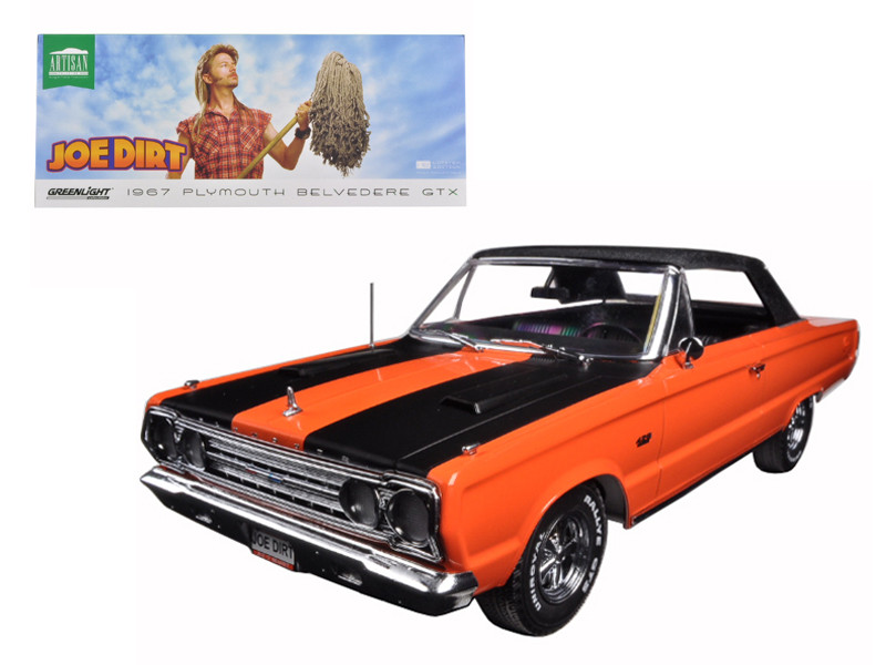 "1967 Plymouth Belvedere GTX Convertible Orange ""Joe Dirt"" Movie (2001) 1/18 Diecast Car Model Greenlight GL19006"