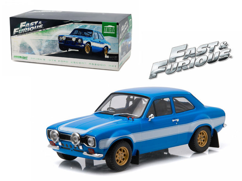"Brian's 1974 Ford Escort RS2000 Mk1 Blue with White Stripes ""Fast & Furious 6"" Movie (2013) 1/18 Diecast Model Car Greenlight 19022"