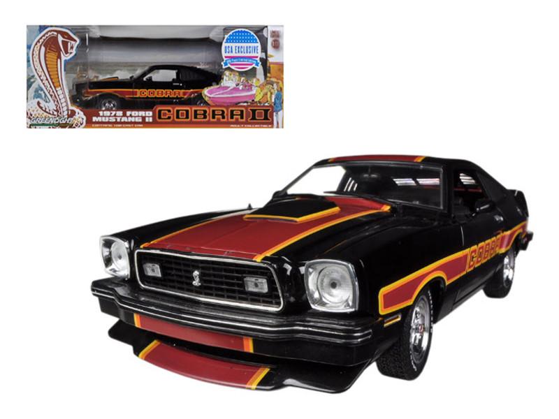"""1978 Ford Mustang Cobra II Black """"Free Wheelin"""" Movie 1/18 Diecast Car Model Greenlight GL12891bk"""
