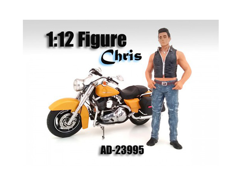 Biker Chris Figure For 1:12 Scale Motorcycles American Diorama 23995