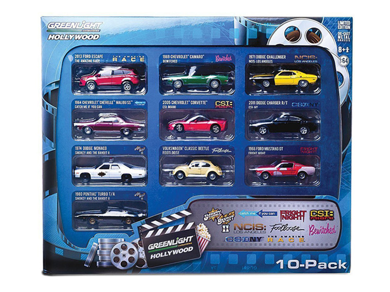 Hollywood 10-Car Collector Case Set Series 1 1/64 Diecast Model Car Greenlight GL71710