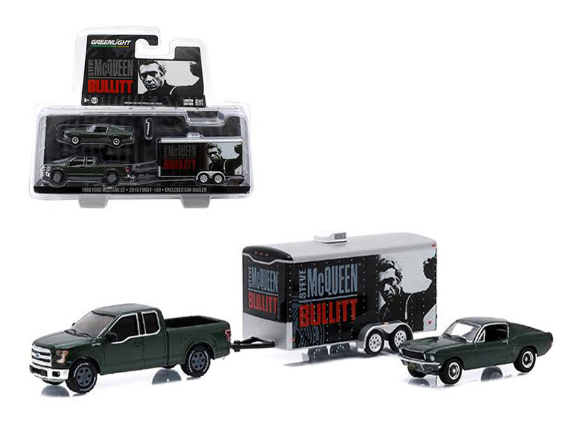 """2015 Ford F-150 and 1968 Ford Mustang GT with Enclosed Car Hauler Set """"Bullitt"""" Movie 1/64 Diecast Model Cars Greenlight 51007"""