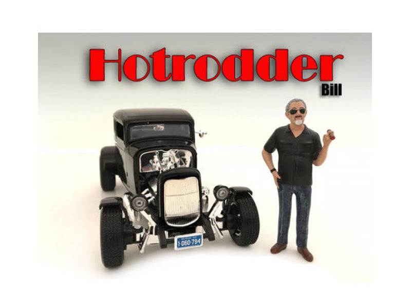 """Hotrodders"" Bill Figure For 1:18 Scale Models American Diorama 24010"