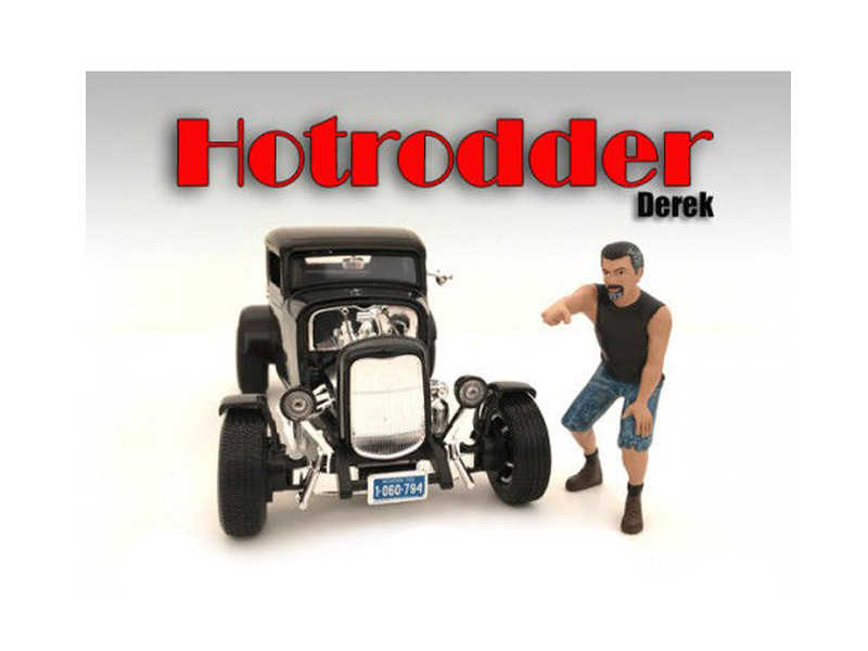 """Hotrodders"" Derek Figure For 1:24 Scale Models American Diorama 24027"
