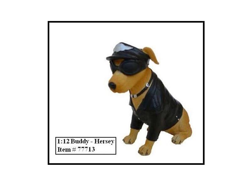 "Biker's Dog ""Buddy Hersey"" Figure For 1:12 Models American Diorama 77713"