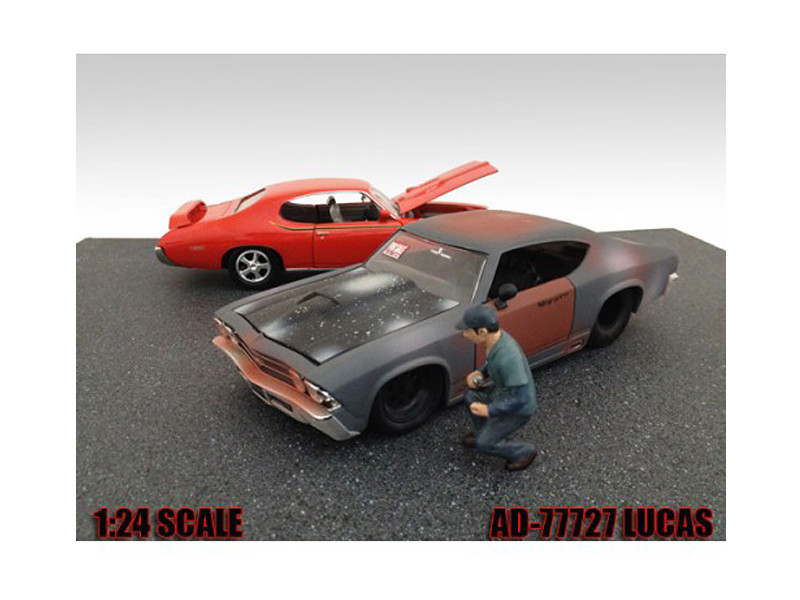 Mechanic Lucas Figure For 1:24 Diecast Model Cars American Diorama 77727