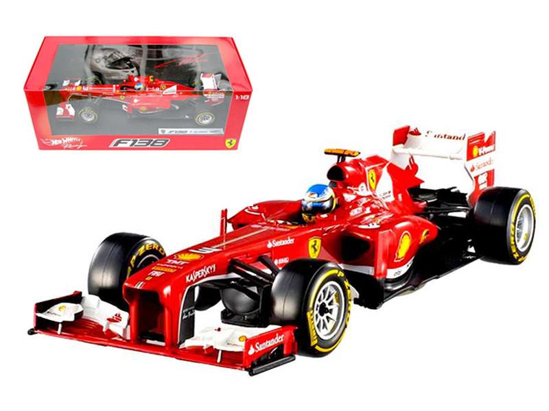 Ferrari F2013 F138 Fernando Alonso Formula 1 2013 F1 1/18 Diecast Car Model Hotwheels BCK14