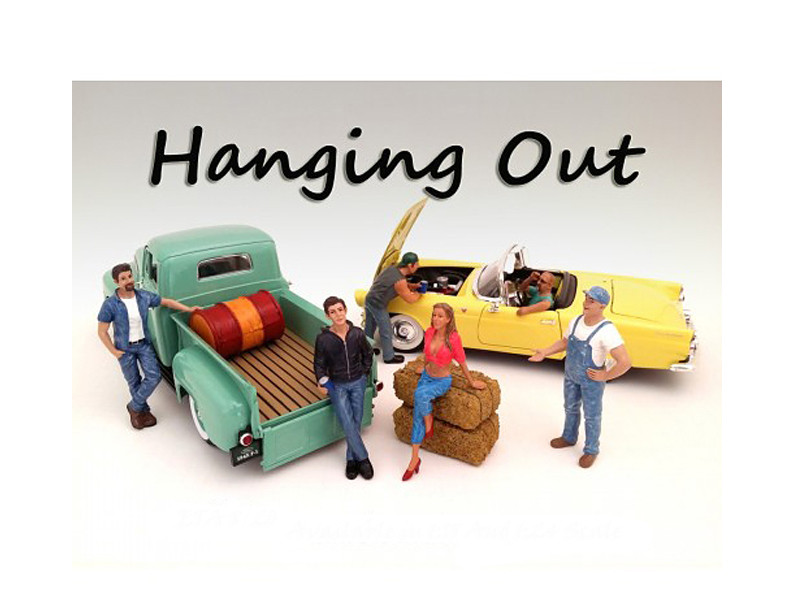 """Hanging Out"" 6 Piece Figure Set For 1:18 Scale Models American Diorama 23853 23854 23855 23856 23857 23858"