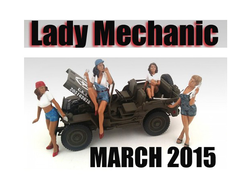 """Lady Mechanics"" 4 Piece Figure Set For 1:18 Scale Models American Diorama 23859 23860 23861 23862"