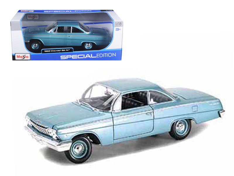 1962 Chevrolet Bel Air Turquoise 1/18 Diecast Model Car Maisto 31641