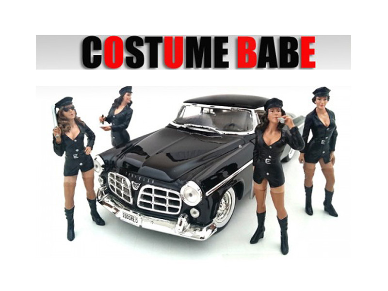 """Costume Babes"" 4 Piece Figure Set For 1:18 Scale Models American Diorama 23869 23870 23871 23872"