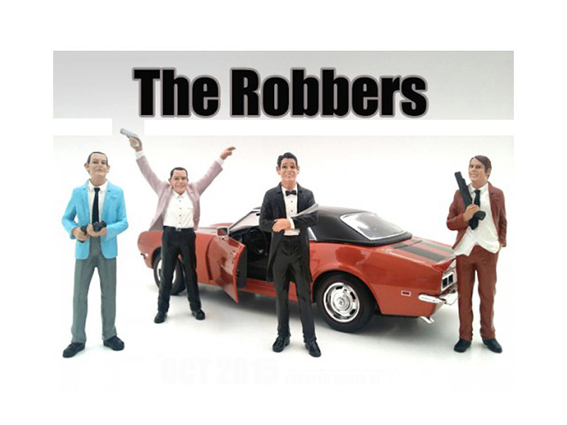 """The Robbers"" 4 Piece Figure Set For 1:18 Scale Models American Diorama 23883 23884 23885 23886"
