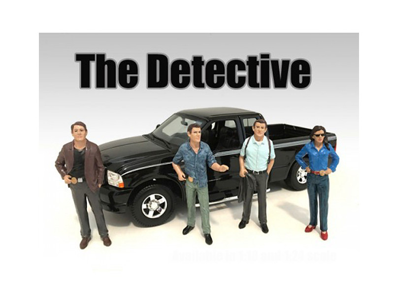 """The Detectives"" 4 Piece Figure Set For 1:18 Scale Models American Diorama 23891 23892 23893 23894"