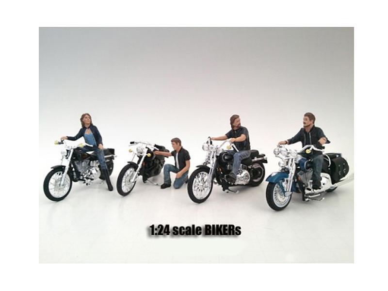 """Bikers"" 4 Piece Figure Set For 1:24 Scale Models American Diorama 23913 23914 23915 23916"
