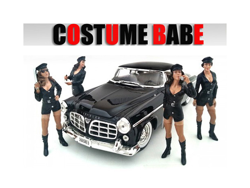 """Costume Babes"" 4 Piece Figure Set For 1:24 Scale Models American Diorama 23917 23918 23919 23920"