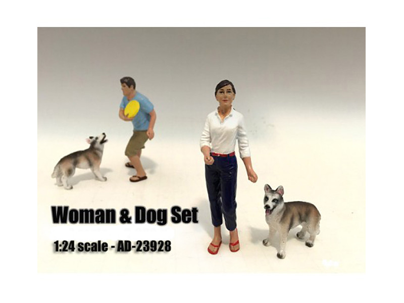 Woman and Dog 2 Piece Figure Set For 1:24 Scale Models by American Diorama