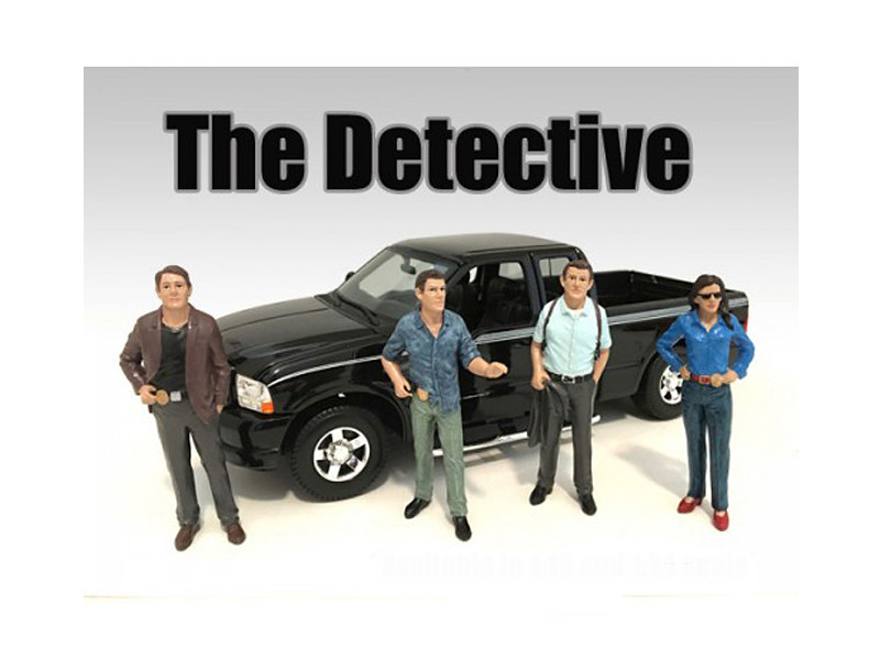 """The Detective"" 4 Piece Figure Set For 1:24 Scale Models American Diorama 23929 23930 23931 23932"