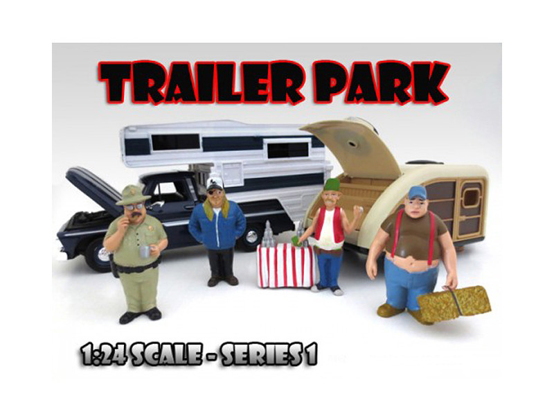 """""""Trailer Park"""" Figure Set of 4 Pieces For 1:24 Scale Diecast Model Cars American Diorama 23973 23974 23975 23976"""