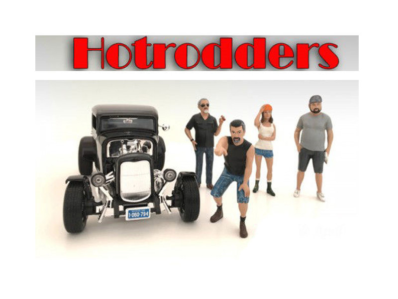 """Hotrodders"" 4 Piece Figure Set For 1:24 Scale Models American Diorama 24027 24028 24029 24030"
