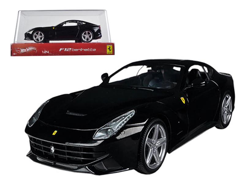 Ferrari F12 Berlinetta Black 1/24 Diecast Car Model by Hotwheels