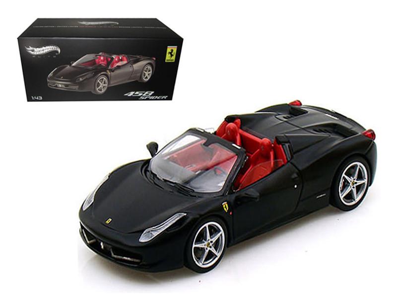 Ferrari 458 Italia Spider Black Elite Edition 1/43 Diecast Car Model by Hotwheels