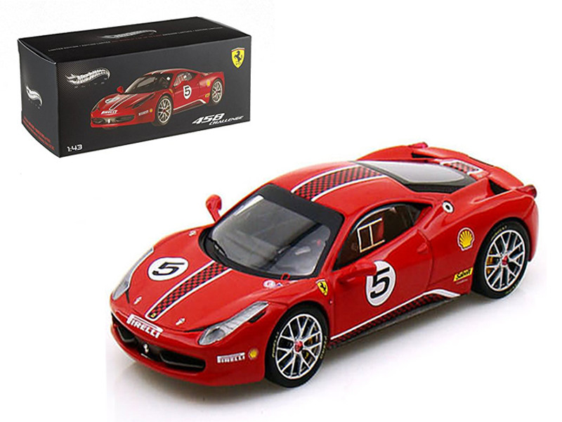 Ferrari 458 Italia Challenge #5 Red Elite Edition 1/43 Diecast Car Model by Hotwheels