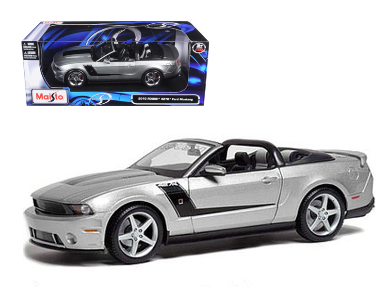 2010 Ford Mustang Convertible 427R Roush Edition Silver 1/18 Diecast Model Car Maisto 31669