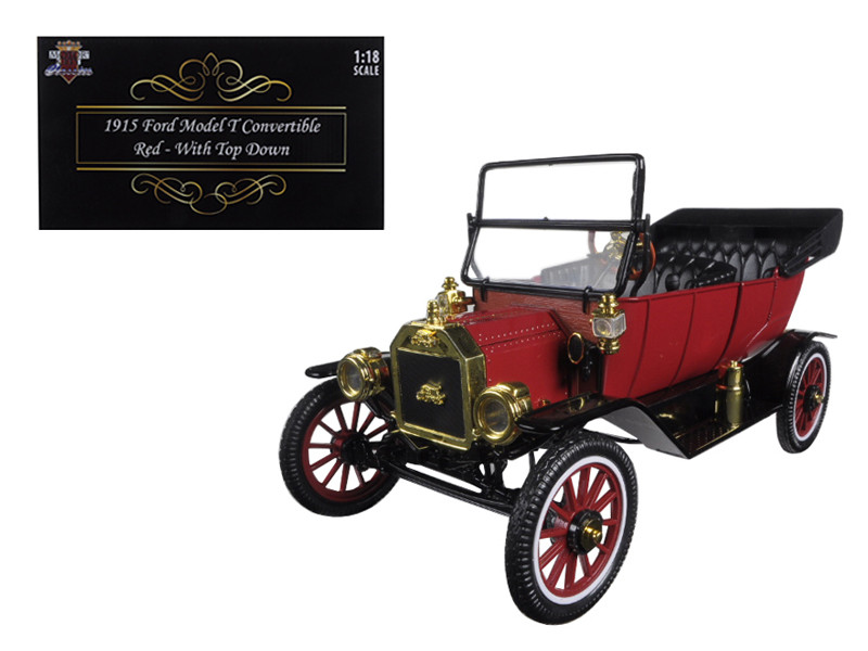 1915 Ford Model T Roadster Converible Red 1/18 Diecast Model Car Motorcity Classics 88141