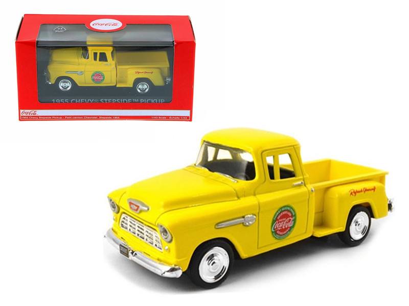 1955 Chevrolet Pickup Truck Stepside Coca Cola Yellow 1/43 Diecast Model Motorcity Classics 430001