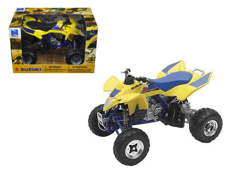 Suzuki Quad Racer R450 Yellow/Blue ATV Motorcycle 1/12 Diecast Model New Ray 43393
