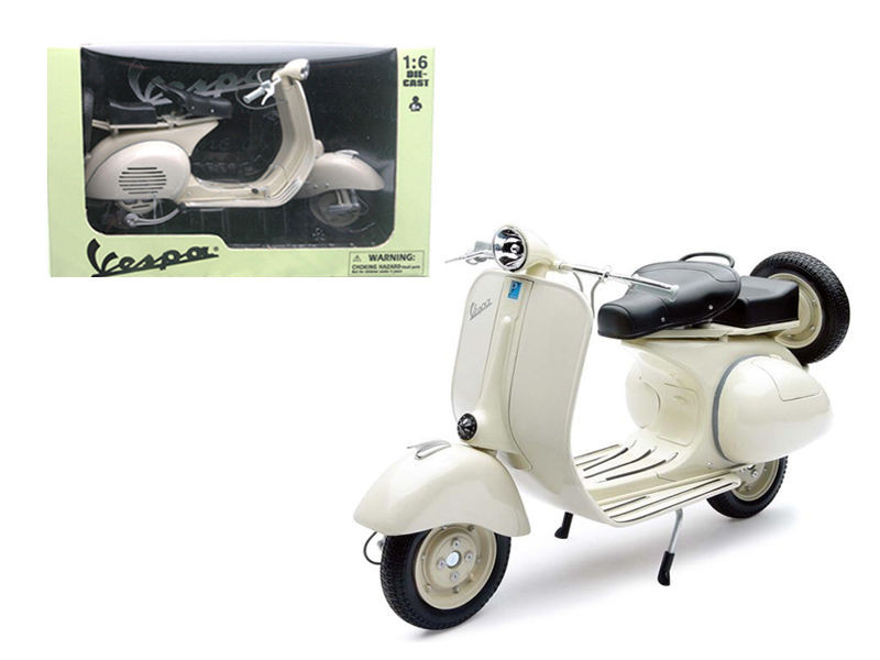 1955 Vespa 150 VL 1T Beige Motorcycle Scooter 1/6 Diecast Model New Ray 49273