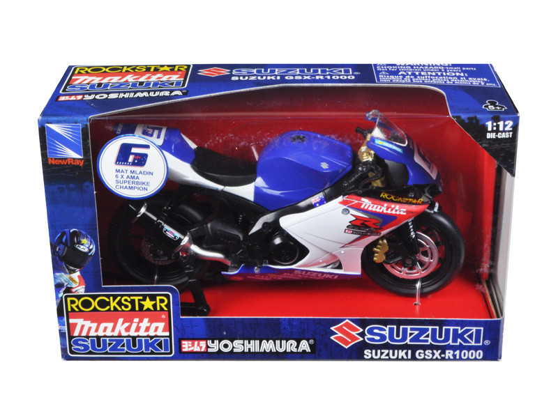 "Suzuki GSX-R1000 #6 ""Makita, Suzuki, Rockstar"" Bike Motorcycle 1/12 New Ray NR57017"