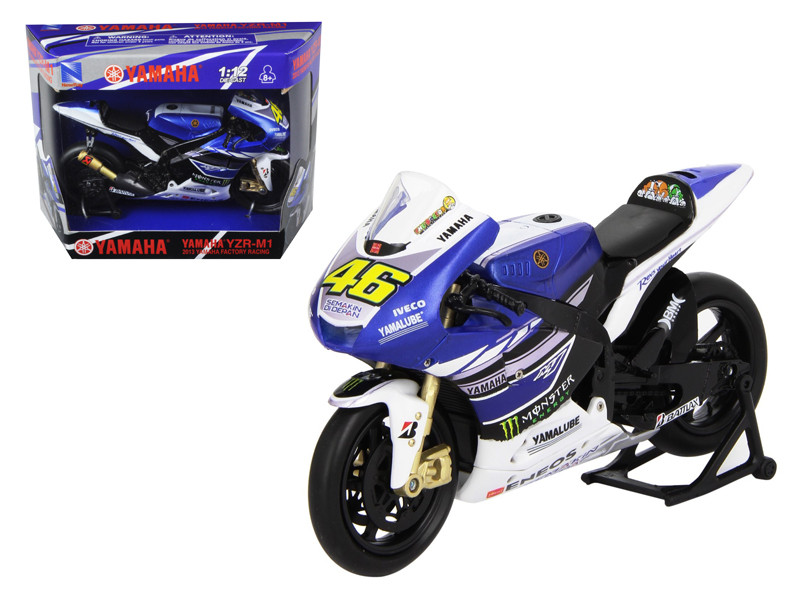 "2013 Yamaha YZR-M1 Valentino Rossi ""Monster"" Moto GP #46 Motorcycle Model 1/12 New Ray NR57583"