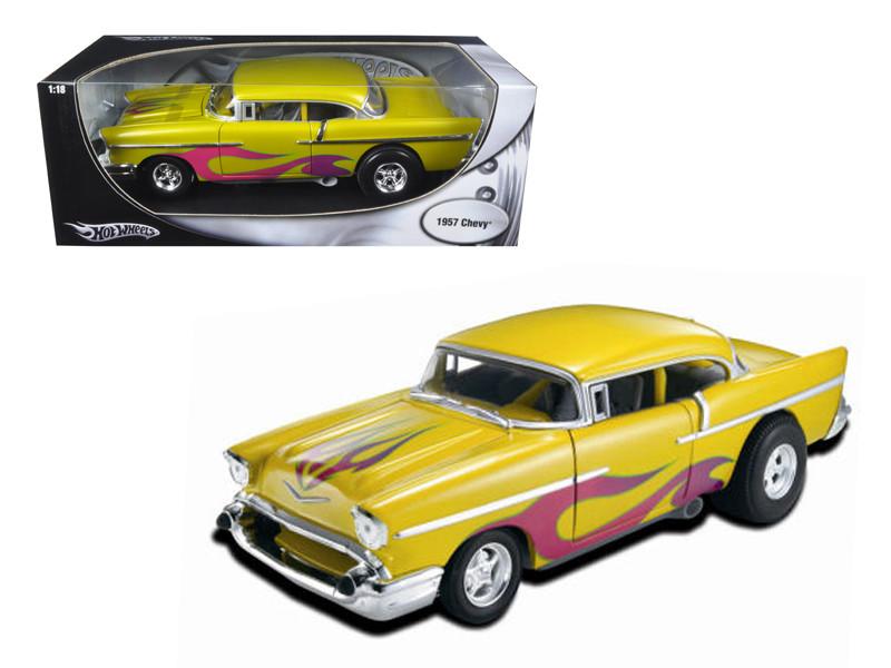 1957 Chevrolet Drag Car Yellow With Flames 1/18 Diecast Car Model Hotwheels 21356
