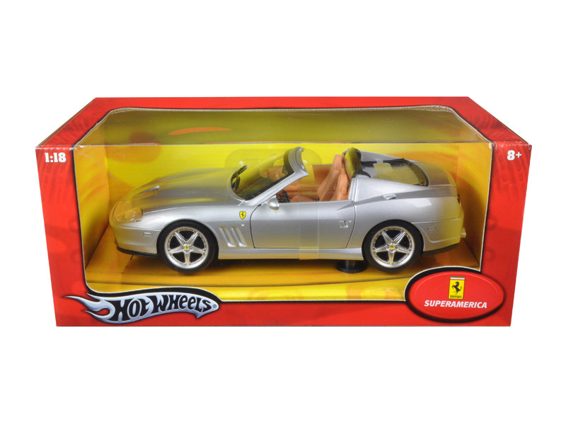 Ferrari Super America Diecast Model Silver 1/18 Diecast Model Car by Hotwheels