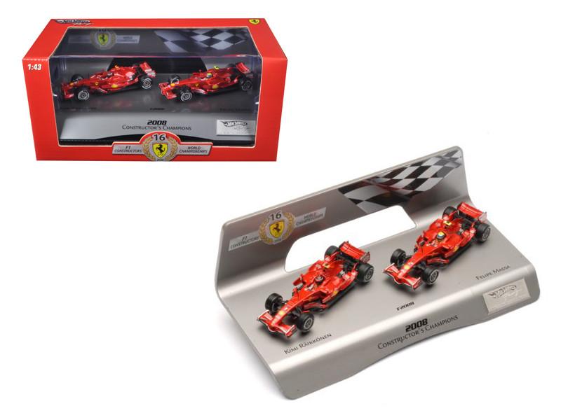 Ferrari F1 F2008 Constructors Champions Kimi Raikkonen & Felipe Massa 1 of 5000 Made 1/43 Diecast Model Car Hotwheels L8784