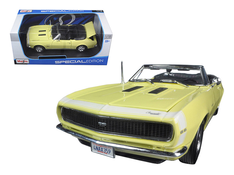 1967 Chevrolet Camaro SS 396 Convertible Yellow 1/18 Diecast Model Car Maisto 31684